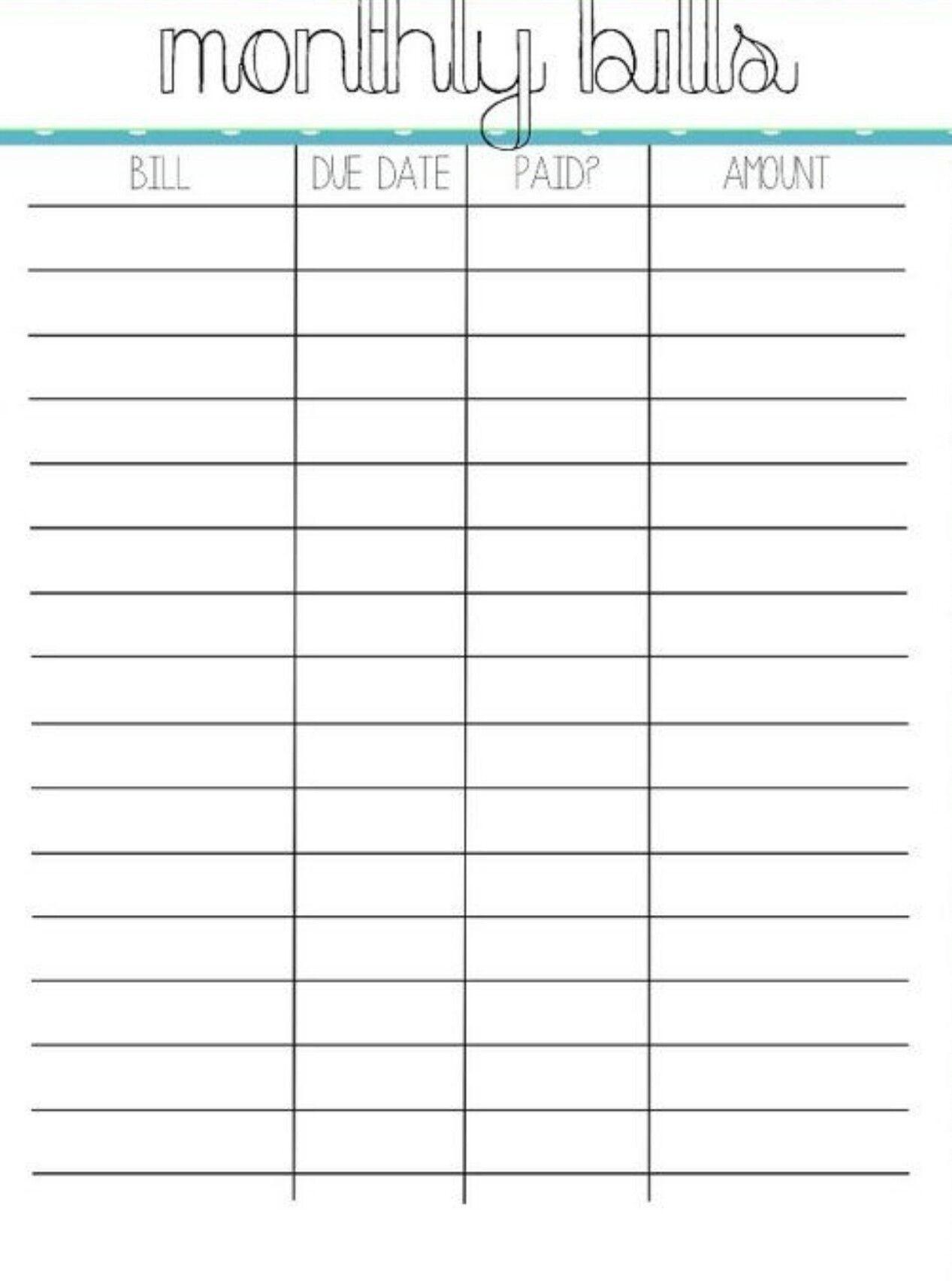 Bill Payment Worksheet Printable Template Calendar Design