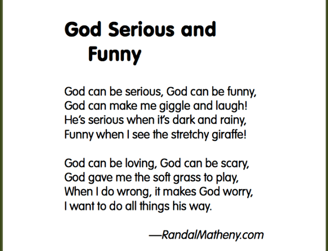 Children's verse: God Serious and Funny