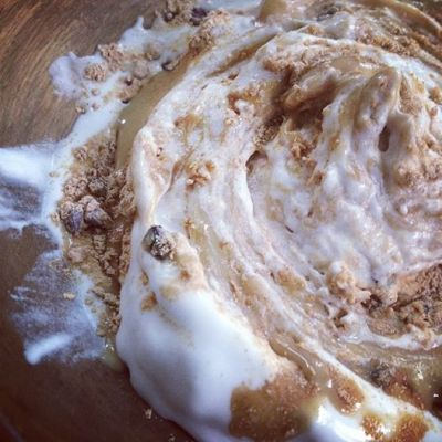 Coconut Ice Cream with Maca, Tahini, Cacao Nib Swirl