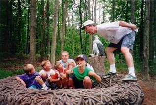 Rand feeding baby birds Chris, Steven, Craig, Steph, TJ (Laura's behind TJ): Marine Museum, Virginia Beach, VA - 1997