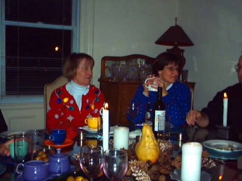 Claire & Ellen at the table. Note the center piece. . .tobacco anyone?