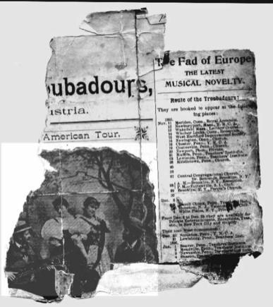 Troubadour card from inside Helene's trunk