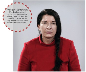 """November 13. I'm glad to be a woman with a modern, career-oriented lifestyle. The pictured quote from Marina Abramovic pretty much sums up how I feel. I think the word """"feminist"""" has come to have a negative connotation. Can't I just be a strong and independent human being? What should my successes and failures have to do with being a woman?"""