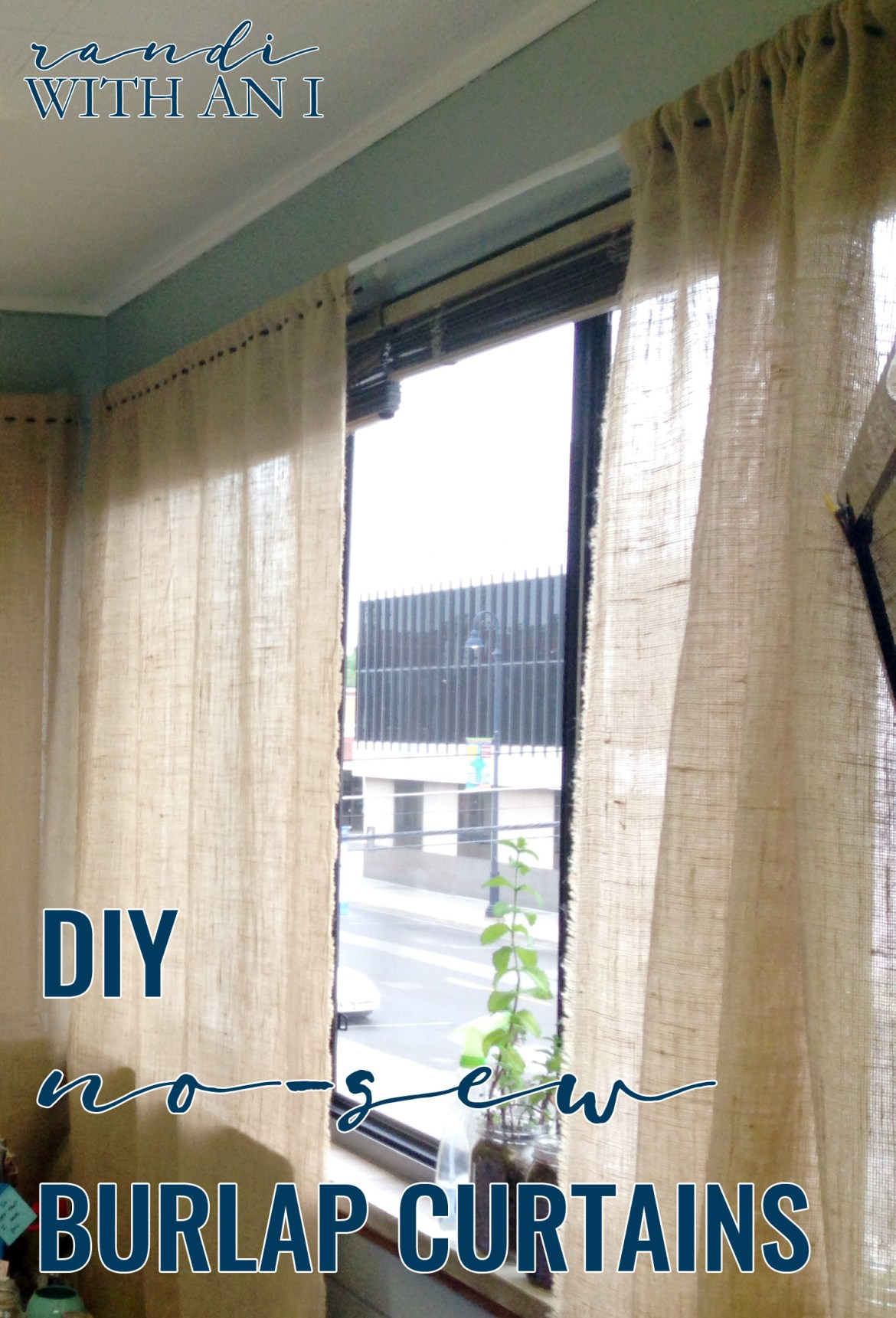 No Sew Burlap Curtains Randi With An I