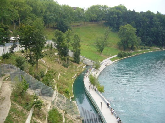 Bern Barengraben, bear park in Bern. View from the bridge