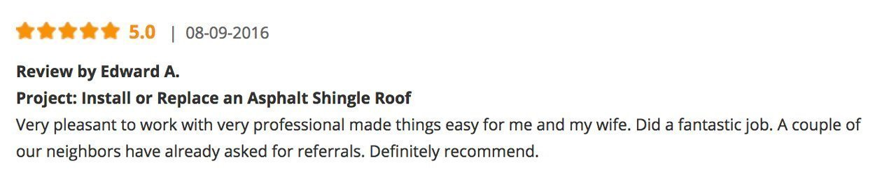 Roof Replacement 5-Star Customer Review