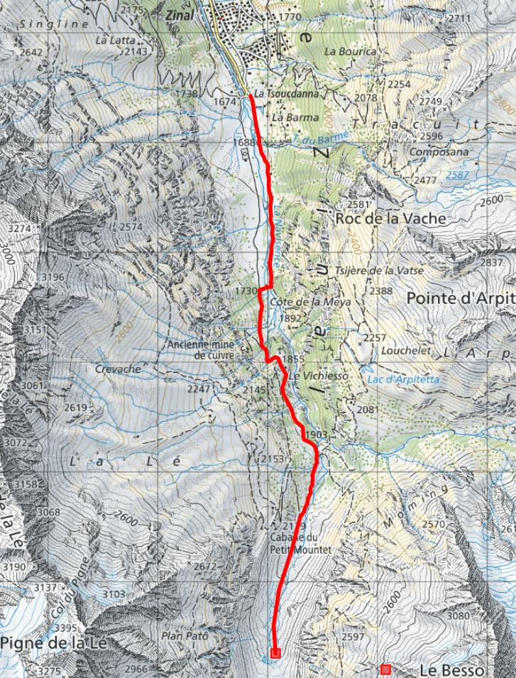 itineraire glacier zinal
