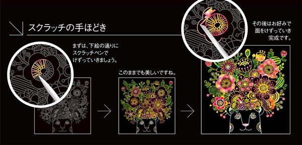 スクラッチアート『Flower! Flower! Flower!』