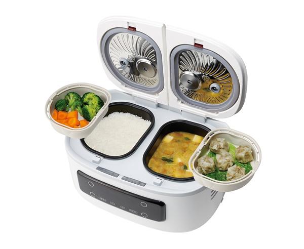 2つの鍋でごはんとおかずが一度にできる!自動調理鍋「ツインシェフ」