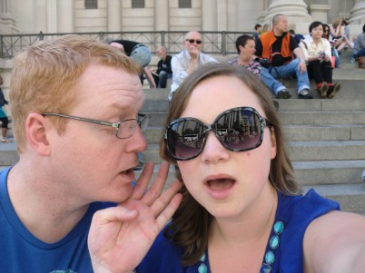"Luke telling me secrets on the steps of The Met just like in ""Gossip Girl"". Ha."
