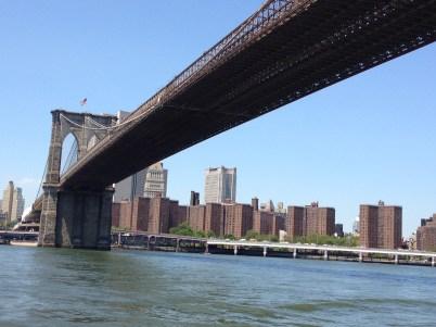 Passing under the Brooklyn Bridge.