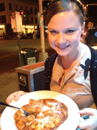 Me enjoying some gnocchi. Yum!