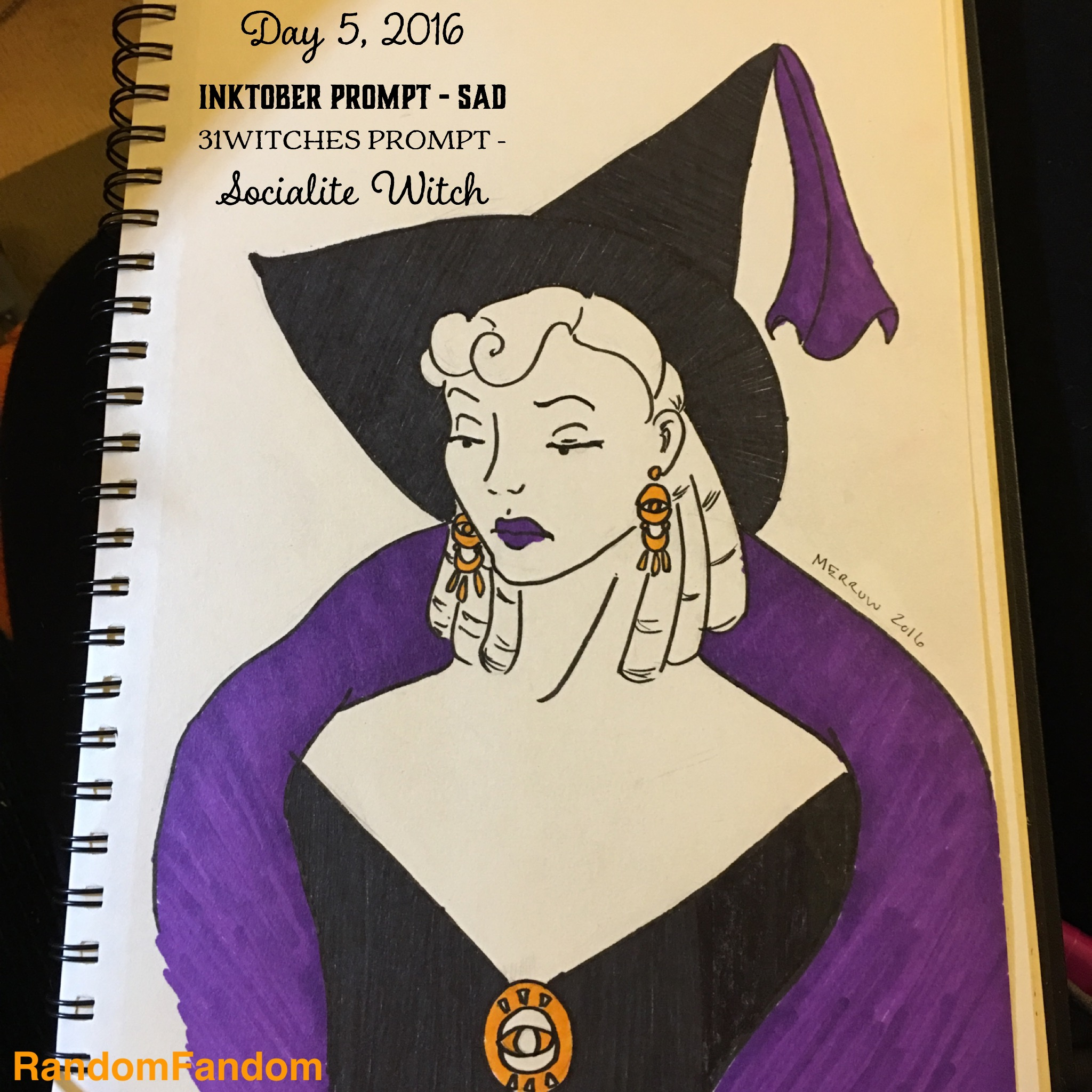 A bored looking socialite witch in a purple stole with gaudy earrings