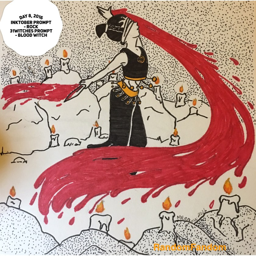 Blindfolded woman twirls in  the center of a stone circle decorated with candles. She holds a bloody knife in one hand and blood pours in a stream around her.