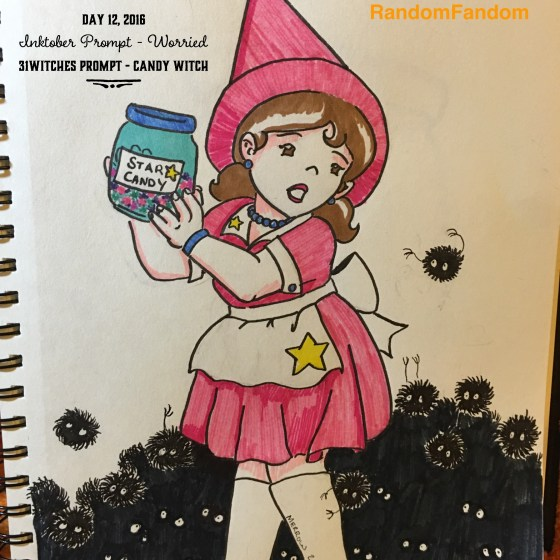 Witch in a pink dress and apron holds a jar of candy while being mobbed by fuzzy sprites