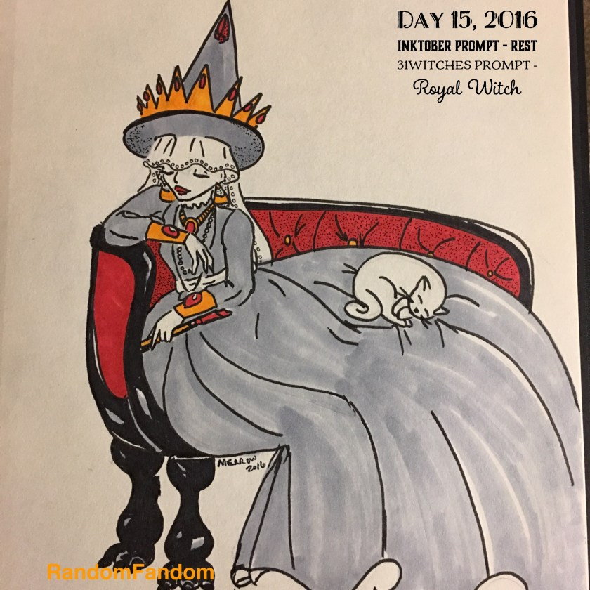 A royal witch reclines on a red couch. Her dress is large and full and she has a crown on the brim of her hat. A cat sleeps on her skirt.