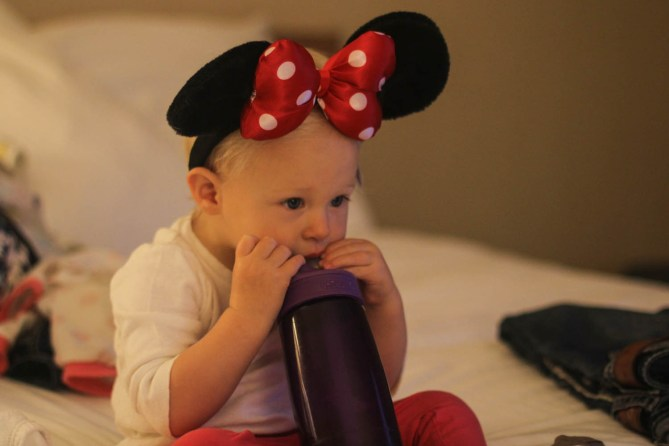 Waiting in the hotel to go to Disney