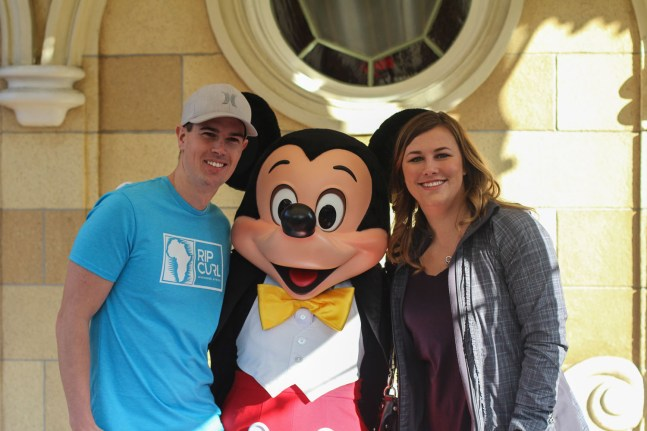 Jared and Lauren with Mickey Mouse