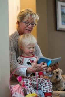Grandma and Ry reading Easter books