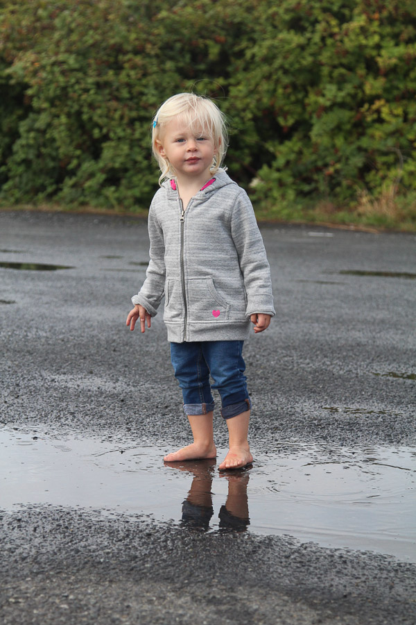 Puddle jumping in the parking lot (Victoria).