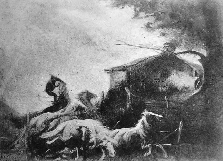 Pintura de Ricardo Cippichia, premiada na Exposição do Saci de 1917.