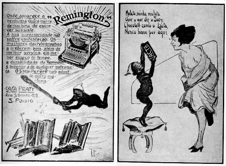 Reprodução de anúncios publicitários da época. Créditos: Colecionador de Sacis