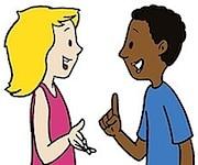 desenho-pessoas-conversando-homem-negro-mulher-loira