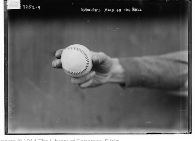 '[Dick Rudolph's grip on ball, Boston NL (baseball)] (LOC)' photo (c) 1914, The Library of Congress - license: http://www.flickr.com/commons/usage/