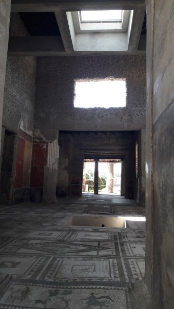 The bath houses and some larger homes still have mosaic floors, the tiles are tiny.