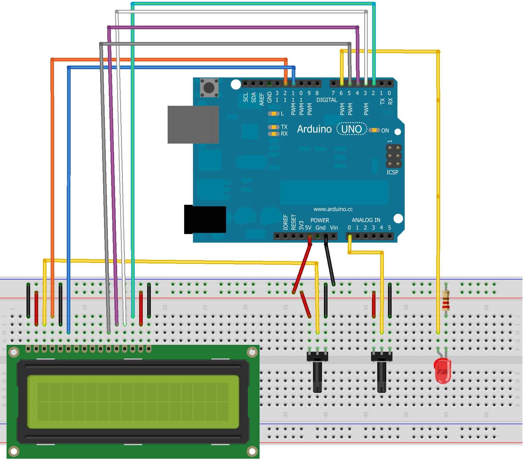 Arduino Display The Led Brightness On A Lcd 16x2 Random Nerd Light Wiring Diagram Schematics Bb