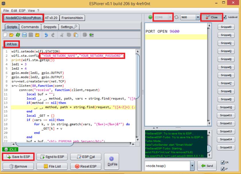 ESPlorer Upload code to ESP8266 NodeMCU Board