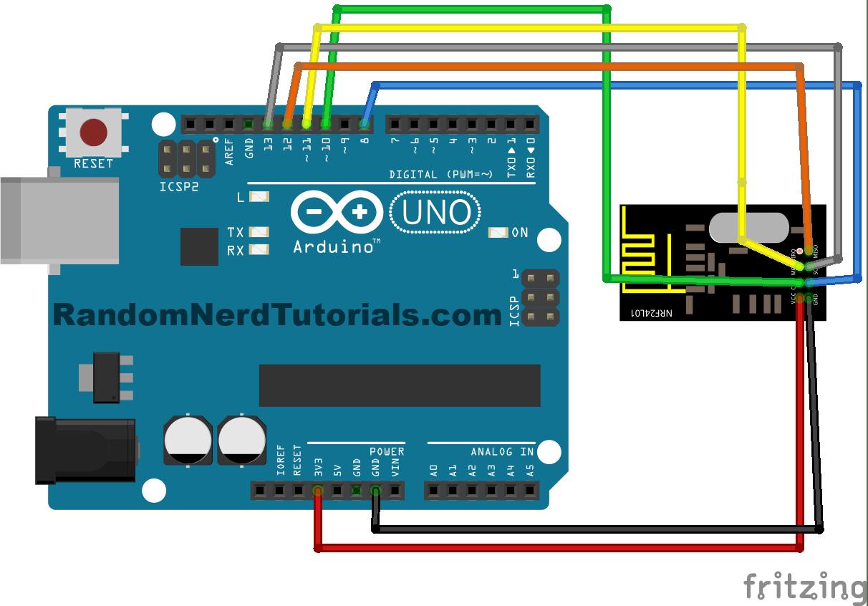 nrf24l01 2 4ghz rf transceiver with arduino code and schematics rh randomnerdtutorials com Arduino Relay Board Wiring Arduino 5V Relay Wiring