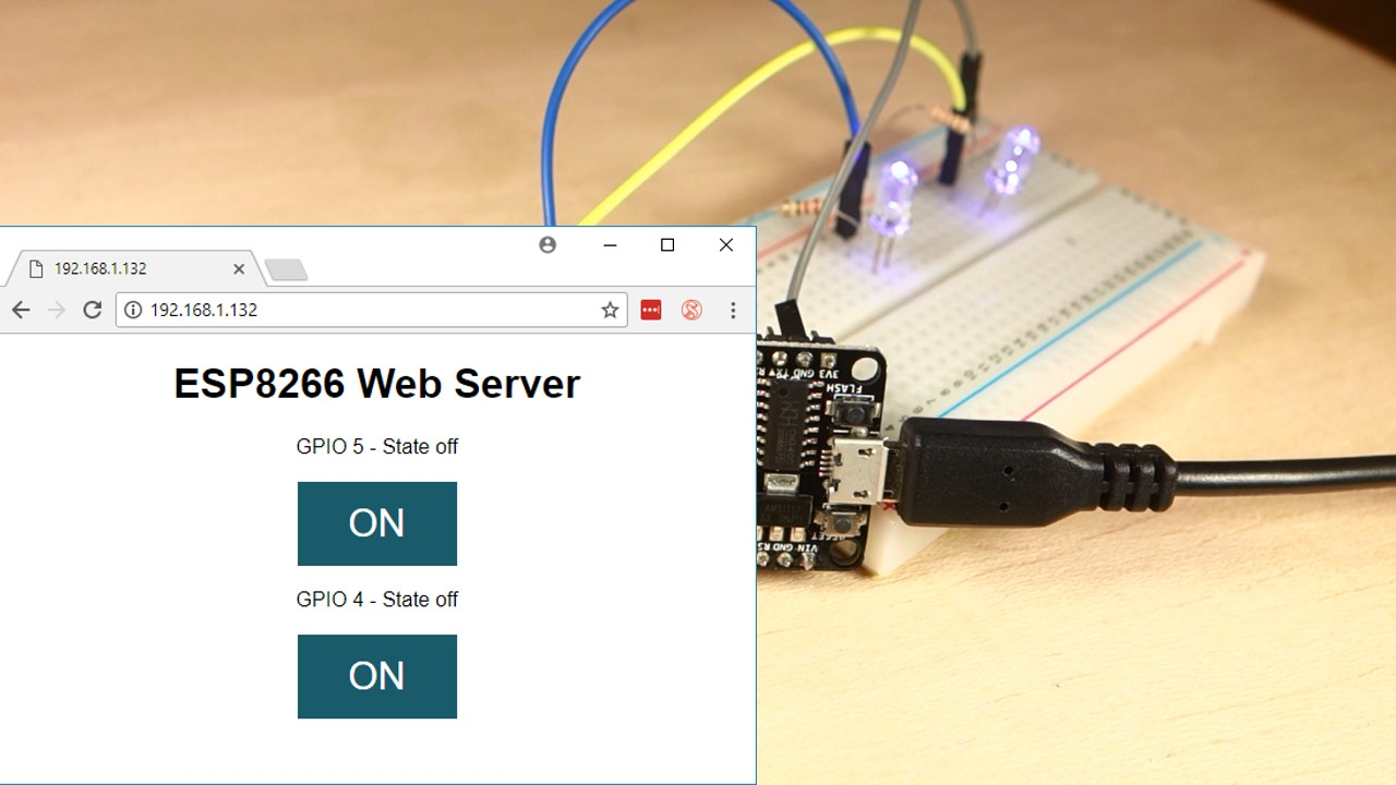 Esp8266 Web Server With Arduino Ide Random Nerd Tutorials Tricolour Led Flasher Circuit Two Leds Using This Is Mobile Responsive And It Can Be Accessed Any Device That As A Browser In Your Local Network