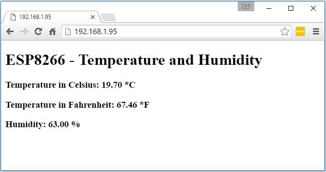 ESP8266 Simple DHT Web Server