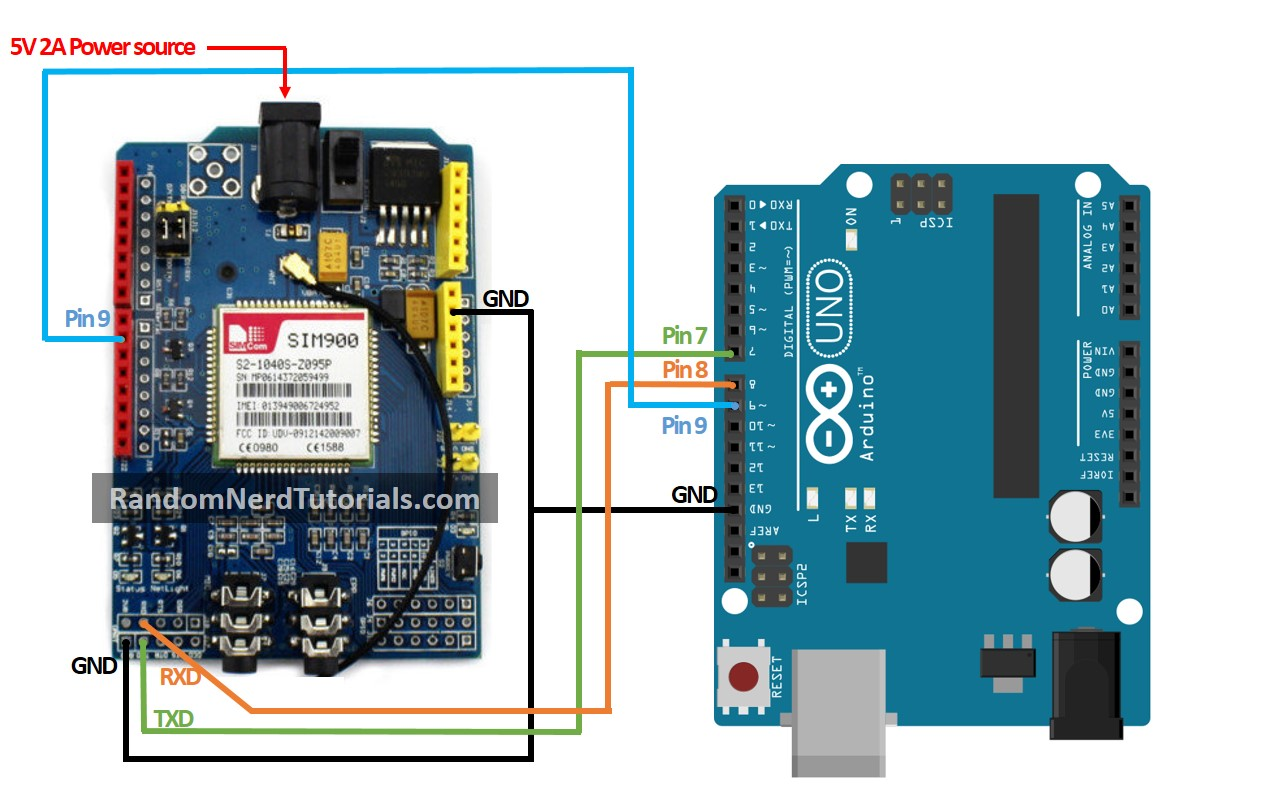Sim900 Gsm Gprs Shield With Arduino Random Nerd Tutorials Uno Wiring Diagram 2 Connect D9 On The To Pin As Shown In Schematic Below