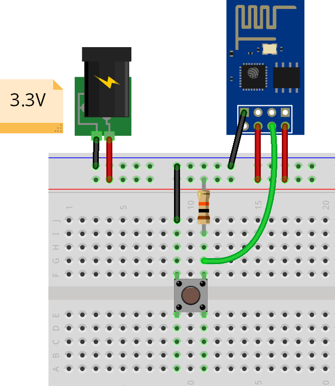 MicroPython ESP-01 NodeMCU External Wake Up deep sleep Circuit schematic