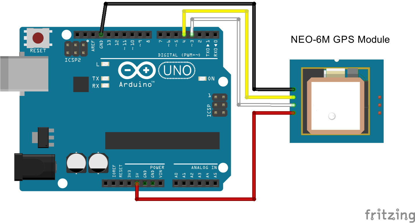 Interfaced GPS receiver module with Arduino UNO and display the Time, Latitude, Longitude, and Altitude info on the Serial window. Arduino read the data serially from.