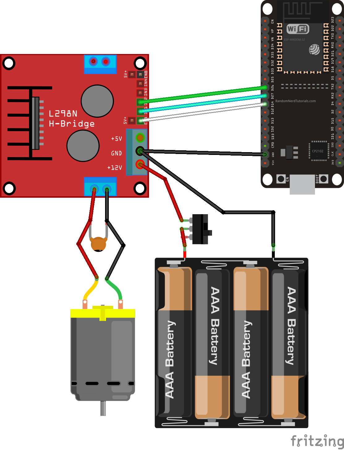 Esp32 With Dc Motor Control Speed And Direction Random Nerd Well Brushless Controller As Electric Wiring Diagram The Requires A Big Jump In Current To Move So Motors Should Be Powered Using An External Power Source From