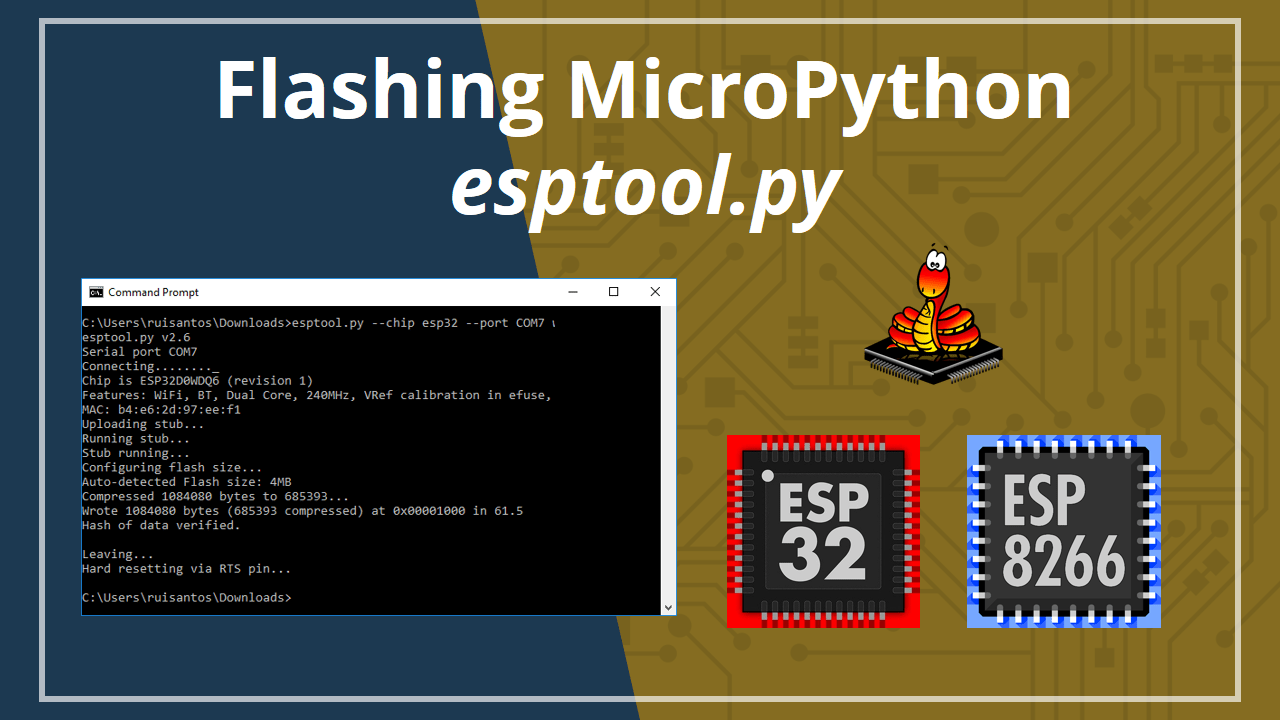 This posts shows how to flash MicroPython firmware on ESP32 ESP8266 boards  using the esptool.py. It works on Windows b189017b705b