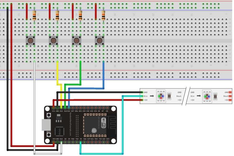 esp32 neopixel pushbutton ws2812b project