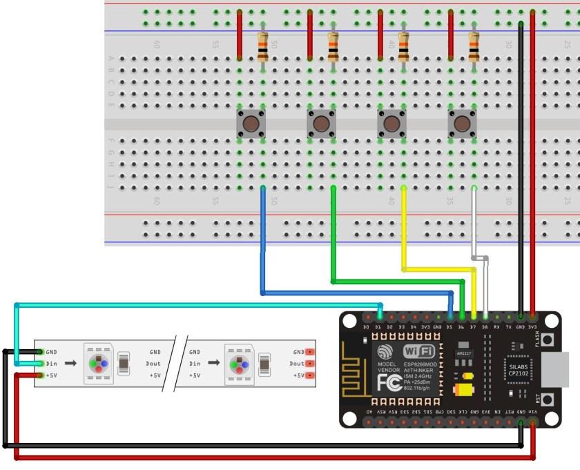 esp8266 neopixel pushbutton ws2812b project