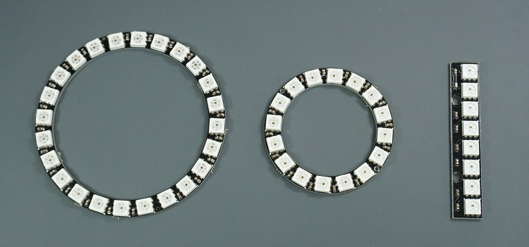 WS2812B addressable RGB LEDs Strips, rings, PCB sticks