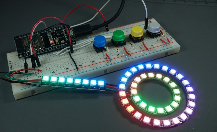 ws2812b led with esp32 esp8266 micropython circuit