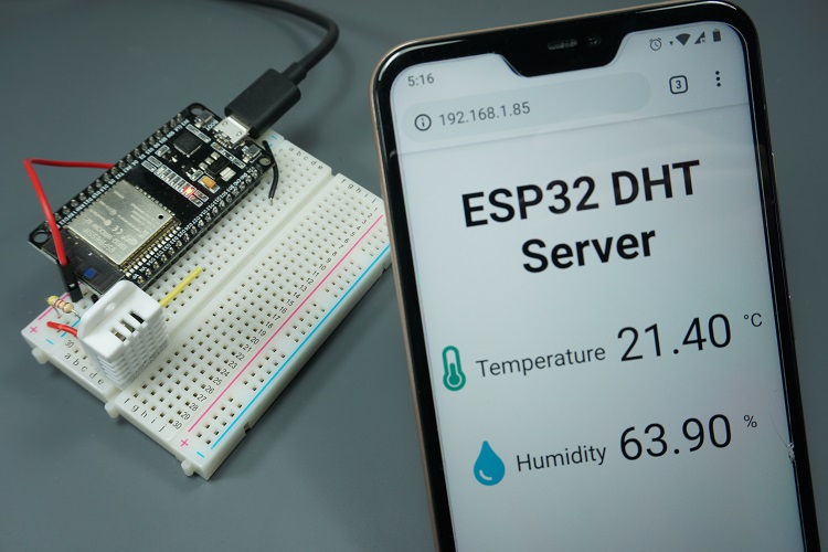 ESP32 DHT11/DHT22 Web Server - Temperature and Humidity using Arduino IDE Demonstration