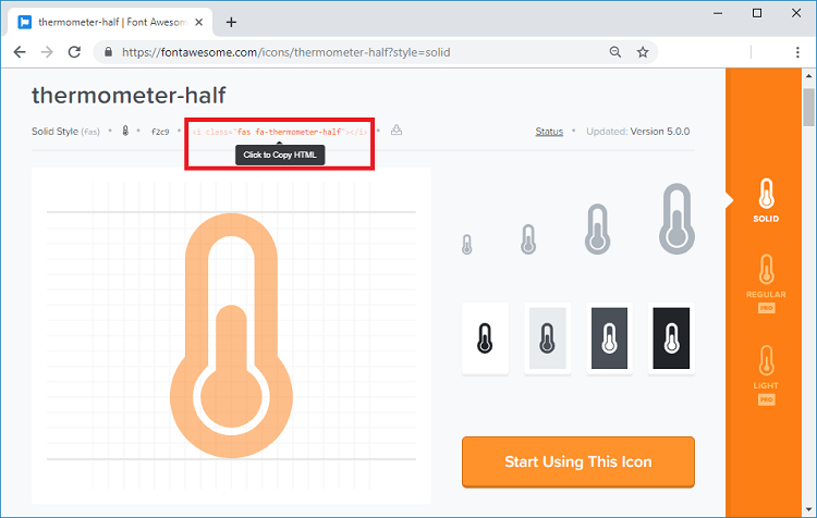 Font Awesome Icons website thermometer half