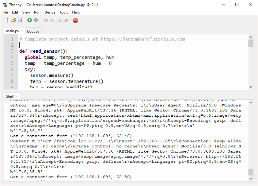 ESP32/ESP8266 DHT11 DHT22 Web Server MicroPython Demonstration