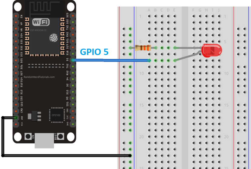 ESP32 PWM with MicroPython circuit to fade Dim LED