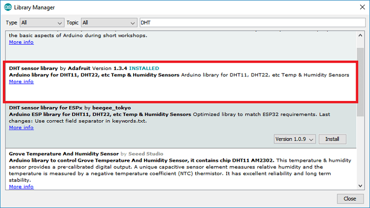 Installing Adafruit DHT library in Arduino IDE