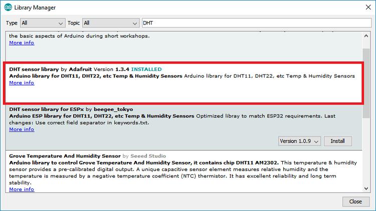 Installing Adafruit DHT library