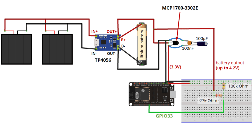 Final circuit Power ESP32 with Solar Panels battery level monitoring